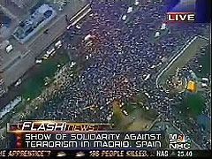 MSNBC TV CABLE NEWS SCREEN GRAB DEMONSTATIONS IN MADRID DEMAND END TO TERROR